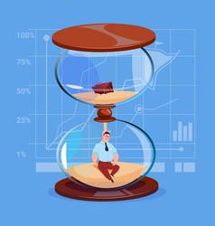 Business man inside sand watch clock deadline time vector