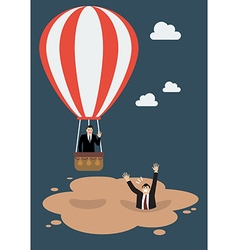 Businessman in hot air balloon get away from vector image