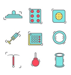 Contraception methods line icon vector