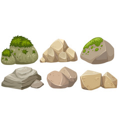 Different shapes of stone with moss vector