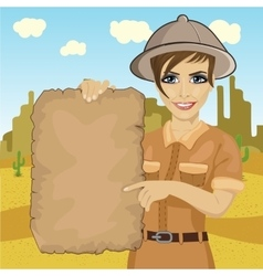 explorer woman hat holding treasure map vector image