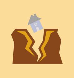 Flat icon on stylish background house earthquake vector
