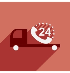 Flat with shadow icon mobile application car round vector