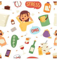 funny brunette stressed vector image