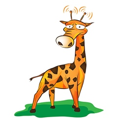 Funny giraffe on grass vector
