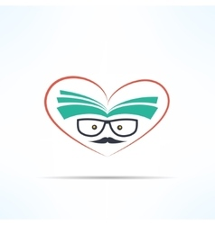 Love reading symbol with heart and book in vector