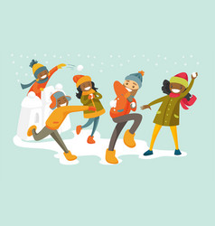 multicultural family playing snowball fight vector image vector image