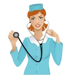 Nurse with stethoscope eps10 vector image