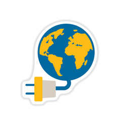 Paper sticker on white background earth energy vector