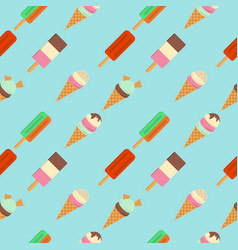 Pattern of ice cream flat vector