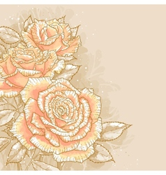 Pink roses on toned background vector image vector image