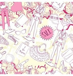 Seamless pattern with mannequin and fashion vector
