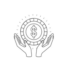 Silhouette hands with floating coin with dollar vector
