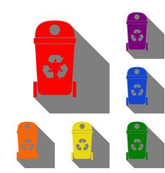 trashcan sign set of red orange vector image vector image