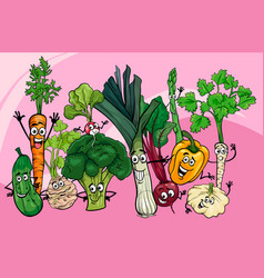 vegetables group cartoon vector image vector image