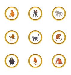 wild monkey icons set cartoon style vector image vector image