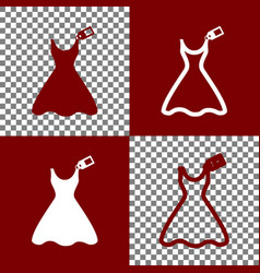 Woman dress sign with tag bordo and white vector