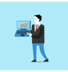 Business man holds laptop concept vector