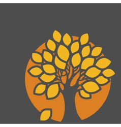 Stylized abstract orange defoliation tree vector