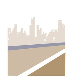 Road and City skyline vector image