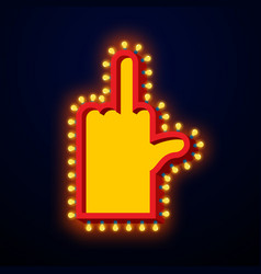 Fuck light pointer with lamps off finger retro vector