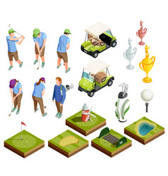 Golf colored isometric decorative icons vector