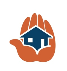 House in people hands vector