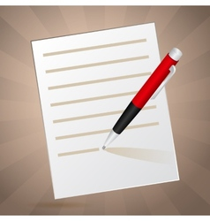 White note and red pen vector