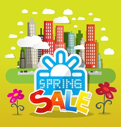 Spring Sale with Flowers and City on Green B vector image