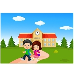 Boy and girl with backpacks vector