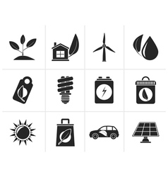 Silhouette green and environment icons vector