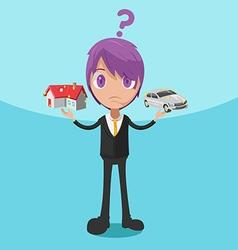Man decide choose house car vector
