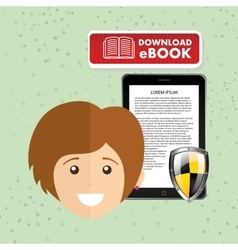 Person using an electronic book design vector