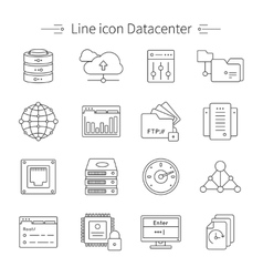 Datacenter line icon set vector