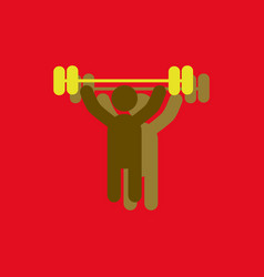 A man lifting weight silhouette in sticker style vector