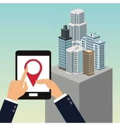 App gps tablet building smart city icon vector