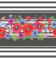 Beautiful flower seamless pattern with strips vector