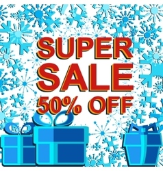Big winter sale poster with super sale 30 percent vector