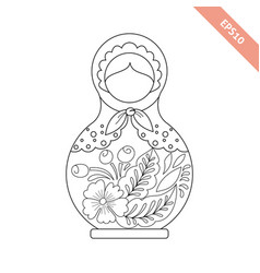 black line nesting doll with floral ornament vector image