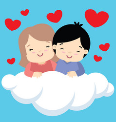 boy and girl hugging on cloud valentines day card vector image