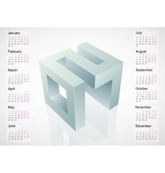 Calendar 2017 with 3D emblem vector image vector image