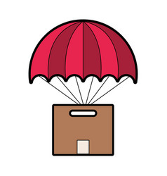 Carton packing box with parachute icon vector