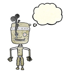Cartoon malfunctioning robot with thought bubble vector
