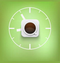 Cup of coffee and time background vector