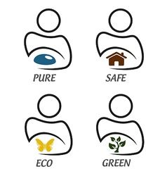 Eco green and environment protection icon set vector image vector image