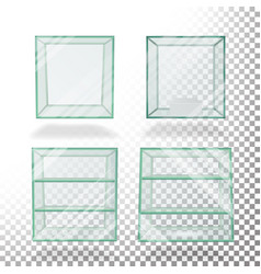 Empty transparent glass box cube set for vector