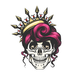 Female skull in crown vector