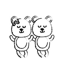 Figure cute animal couple bear together vector