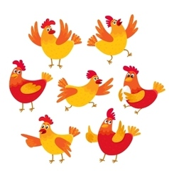 Funny cartoon red and orange chicken hen in vector