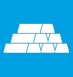 Gold bars icon white vector